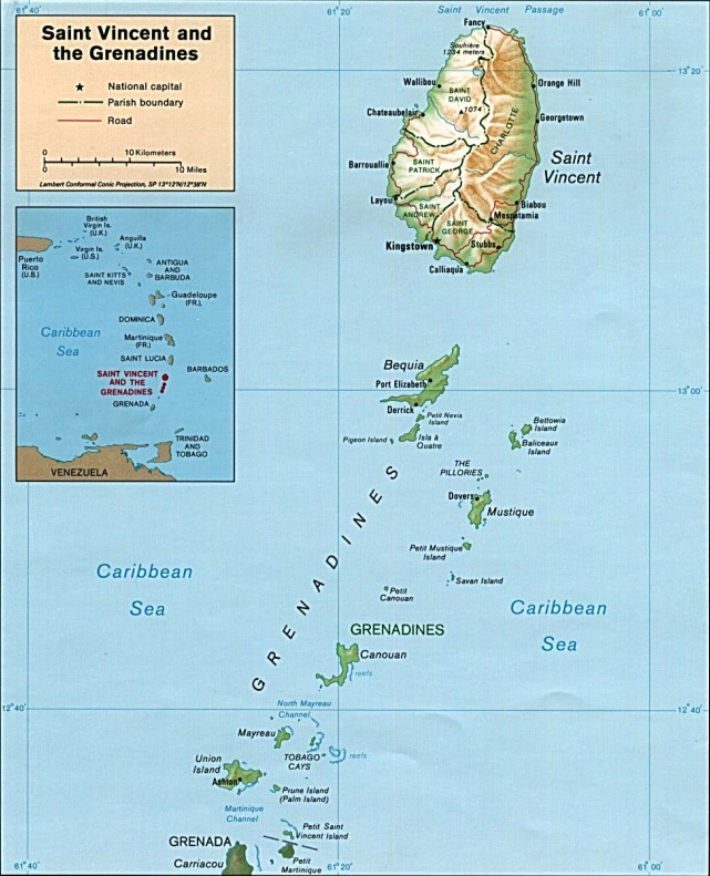 St Vincent and the Grenadines map